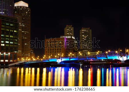 Night photo of Boston Inner Harbor - stock photo