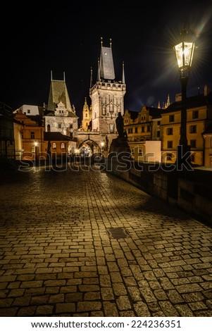 Night photo of Charles Bridge ,Prague,Czech Republic  - stock photo