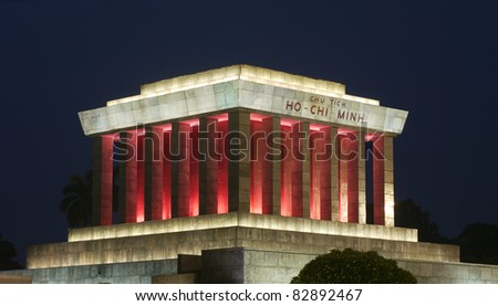 Night photo of the Ho Chi Minh Mausoleum in Hanoi, Vietnam - stock photo