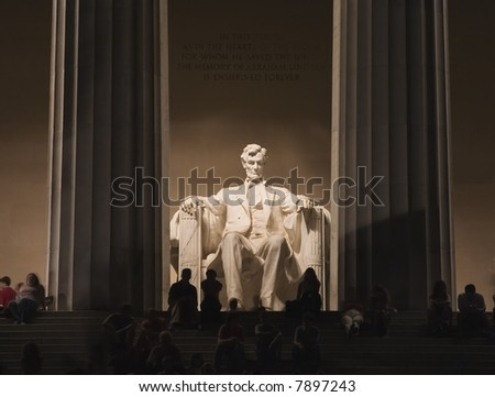 Night photograph of the Abraham Lincoln Memorial in Washington D.C. - stock photo