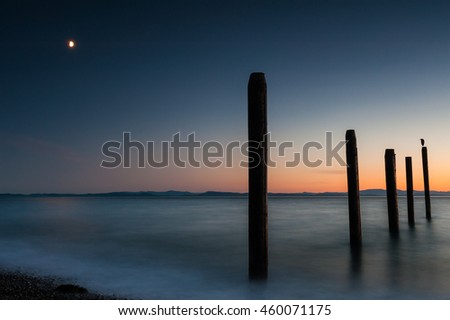Night picture of Point Roberts pilings and silky water at night time wit seagull on a post
