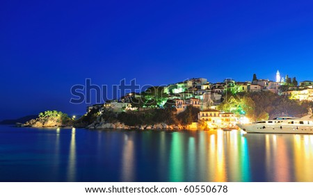 Night picture taken on the Greek island of Skiathos - stock photo