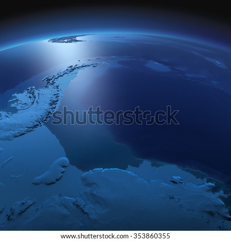 Night planet Earth with precise detailed relief and city lights illuminated by moonlight. Antarctica. Antarctic Peninsula, Weddell Sea and ice shelves. Elements of this image furnished by NASA - stock photo