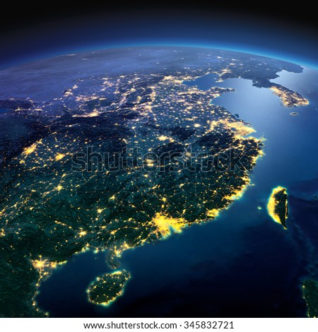 Night planet Earth with precise detailed relief and city lights illuminated by moonlight. Eastern China and Taiwan. Elements of this image furnished by NASA - stock photo