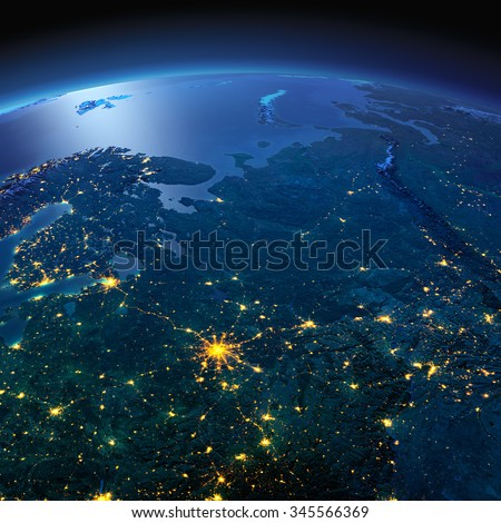 Night planet Earth with precise detailed relief and city lights illuminated by moonlight. European part of Russia. Elements of this image furnished by NASA - stock photo