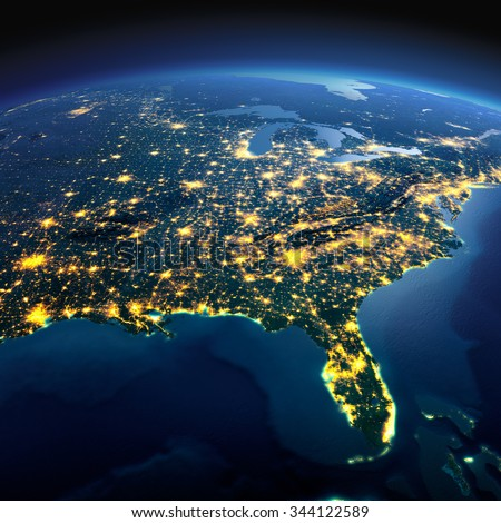 Night planet Earth with precise detailed relief and city lights illuminated by moonlight. North America. USA. Gulf of Mexico and Florida. Elements of this image furnished by NASA - stock photo