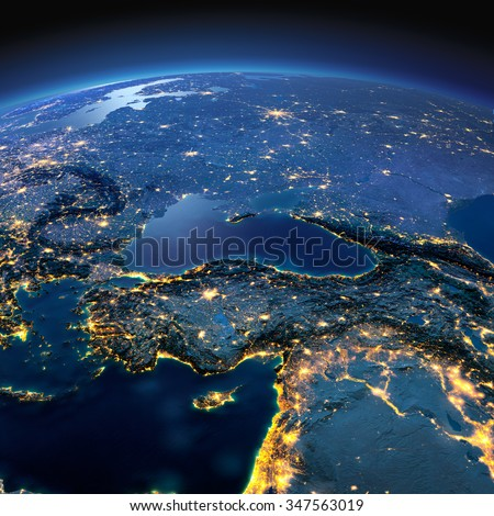 Night planet Earth with precise detailed relief and city lights illuminated by moonlight. Turkey and Middle East countries. Elements of this image furnished by NASA - stock photo