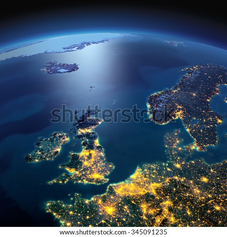 Night planet Earth with precise detailed relief and city lights illuminated by moonlight. United Kingdom and the North Sea. Elements of this image furnished by NASA - stock photo