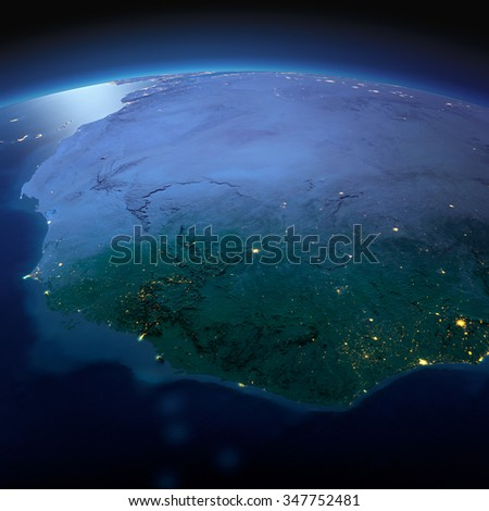 Night planet Earth with precise detailed relief and city lights illuminated by moonlight. West African countries - Liberia, Guinea, Sierra Leone. Elements of this image furnished by NASA - stock photo