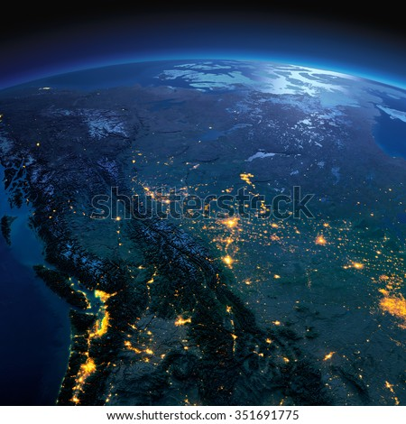 Night planet Earth with precise detailed relief and city lights illuminated by moonlight. Western and Northern Canada - British Columbia, Alberta. Elements of this image furnished by NASA - stock photo
