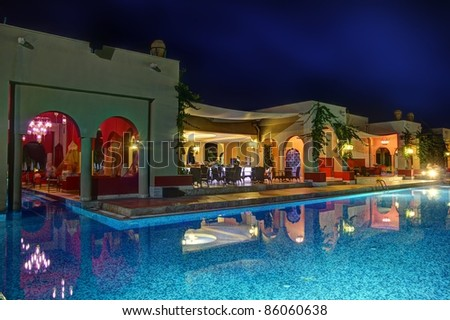 Night pool bar - stock photo