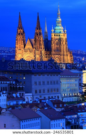 Night Prague City gothic Castle, Czech Republic - stock photo