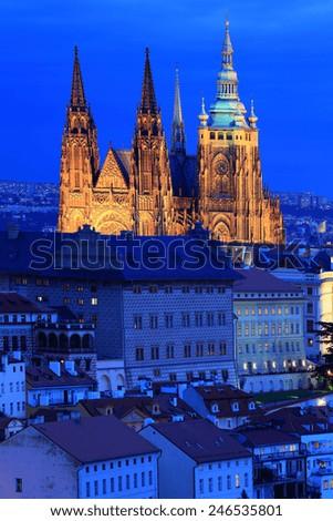 Night Prague City Gothic Castle Czech Republic