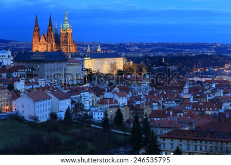 Night Prague City with gothic Castle, Czech Republic - stock photo