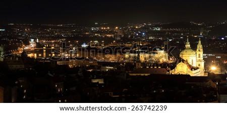 Night Prague City with St. Nicholas' Cathedral, Czech Republic - stock photo