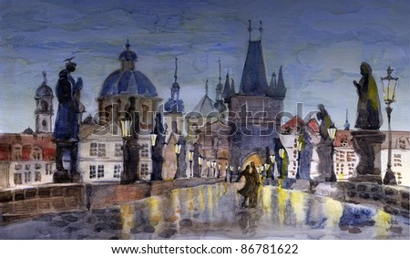 Night Prague scene at Charles bridge in watercolor painting