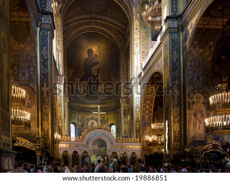 Night praying in St.Volodymyr cathedral (the main cathedral of Ukrainian orthodox church) in Kyiv - stock photo