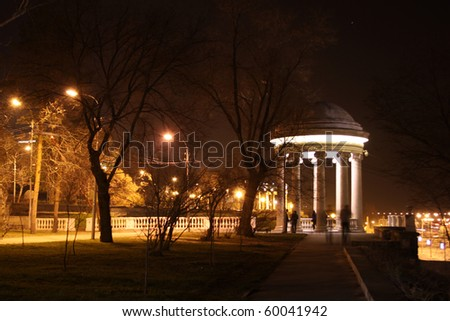 Night provincial town in Russia