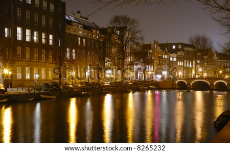 Night reflections in Amsterdam canal