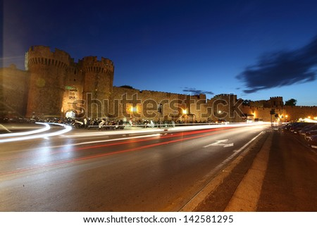 Night Rhodes Greece Medieval Town street - stock photo