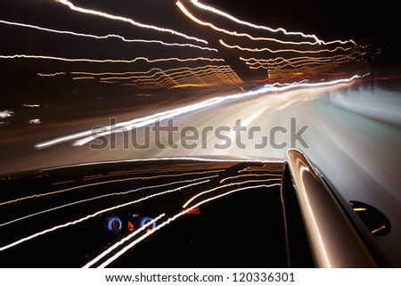 Night ride with camera on roof - stock photo