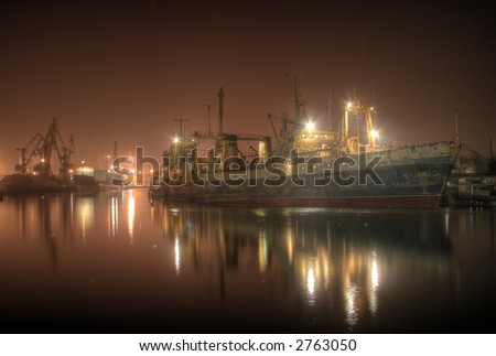Night river port of the Kaliningrad city (Russia) - stock photo