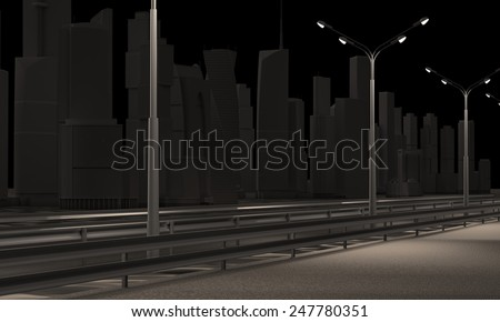 Night road against the backdrop of the city at night. - stock photo