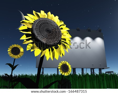 Night roadside billboard with sunflowers - stock photo