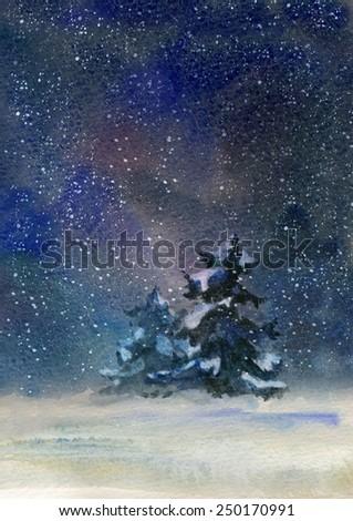 Night rural landscape at winter. Watercolor illustration. - stock photo