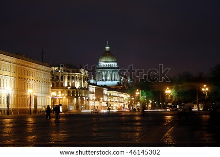 Night Saint Petersburg, Russia.  Saint Isaac cathedral - stock photo