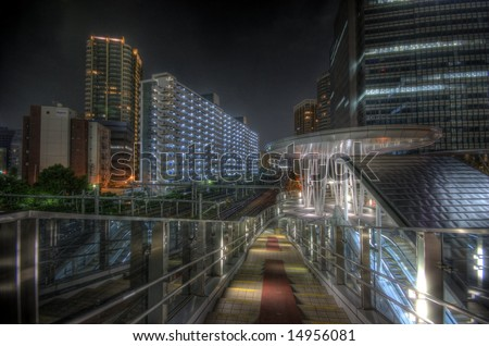 Night scape in Tokyo, Japan - stock photo