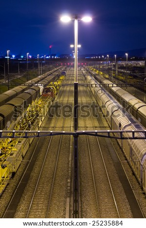 night scene at railway yard - stock photo