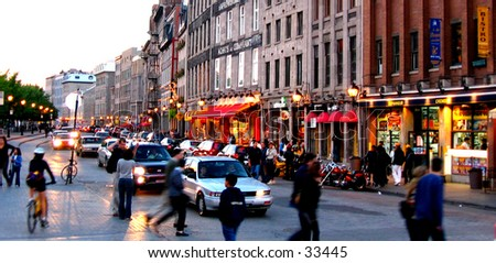 Night Scene at the street of Old montreal in Canada - stock photo