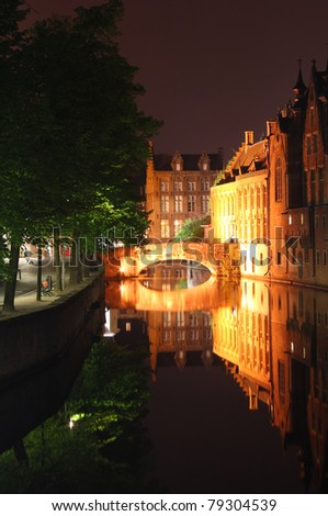 night scene: bridge at night Bruges (Belgium) - stock photo