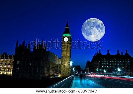 Night scene in London showing the Big Ben, a full moon and traffic on Westminster bridge - stock photo
