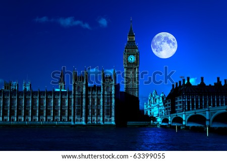 Night scene in London showing the Big Ben, a full moon and Westminster bridge - stock photo