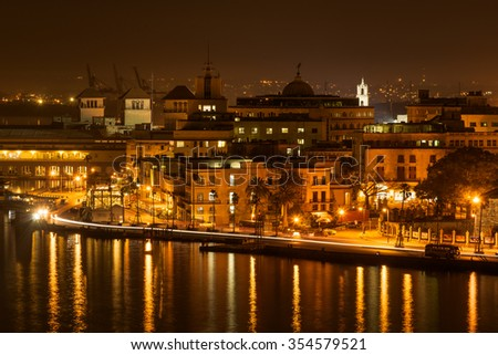 Night scene in Old Havana with a view of the bay - stock photo