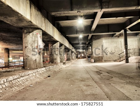 Night scene in the scary tunnel in Belgrade - stock photo
