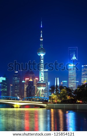 night scene of beautiful shanghai - stock photo