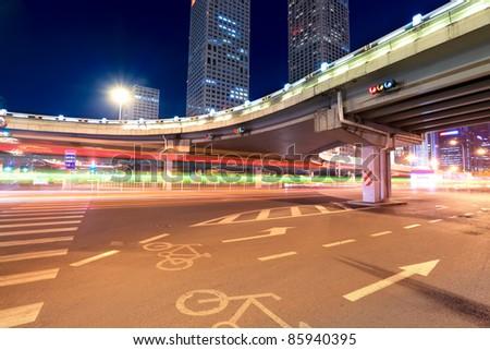 night scene of beijing international trade bridge,China - stock photo