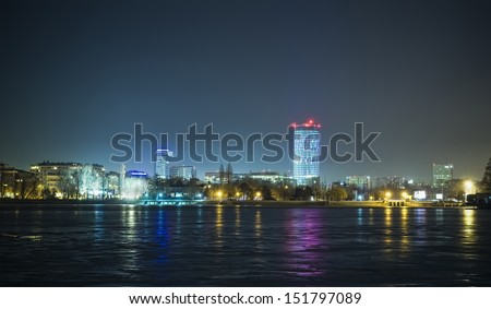 Night scene of Bucharest city - stock photo