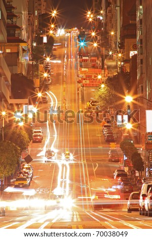 Night Scene of California Street in San Francisco - stock photo