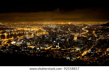 night scene of Cape Town, South Africa - stock photo