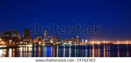 night scene of coastal city - Durban, South Africa - stock photo