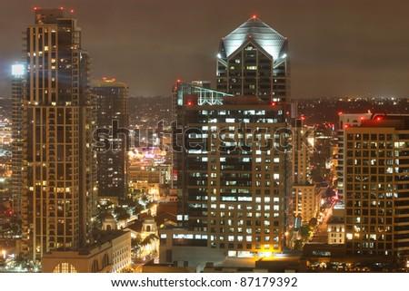 Night scene of Downtown San Diego California - stock photo