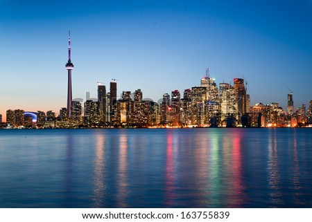 Night scene of downtown Toronto during early winter time - stock photo