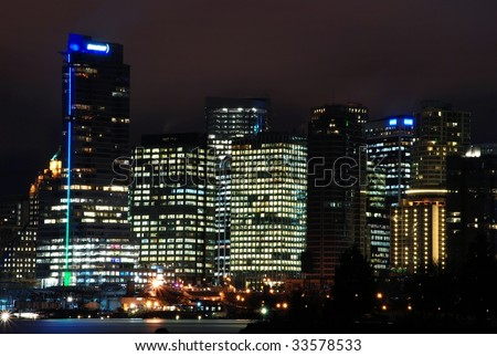 Night scene of downtown Vancouver, BC Canada.  View from Stanley Park