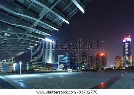 night scene of guangzhou special economic zone,China - stock photo