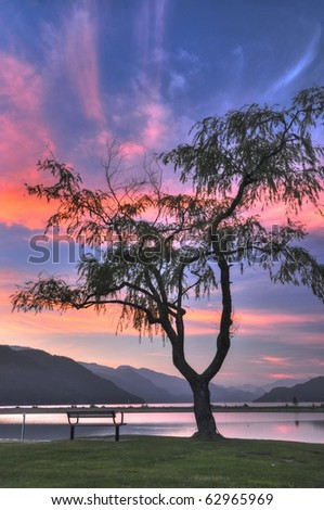 Night scene of Harrison Hot Springs lake view; HDR photo - stock photo