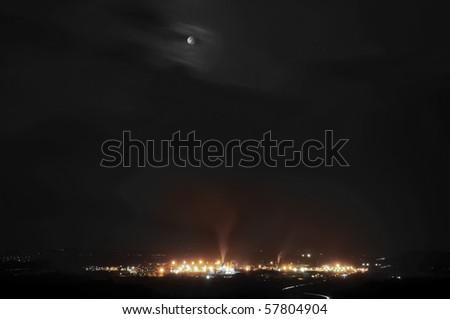 Night Scene of industrial pollution - stock photo